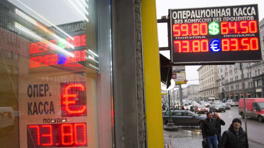 Signs advertising currencies at an exchange office at Tverskaya street, December 16, 2014 in Central Moscow, Russia.